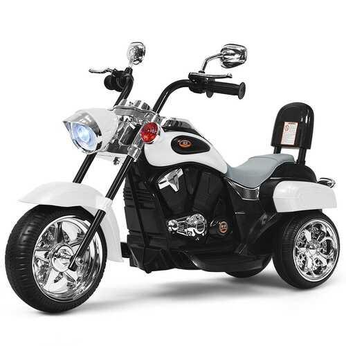 6V 3 Wheel Kids Motorcycle-White - Color: White