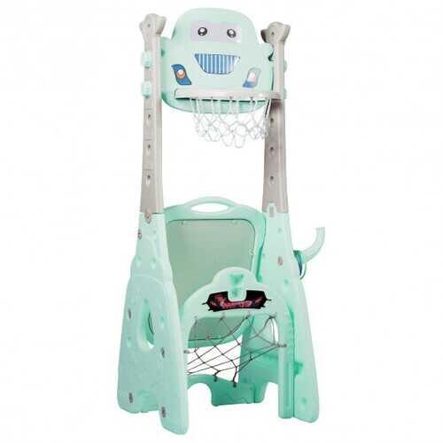6-in-1 Adjustable Kids Basketball Hoop Set-Blue