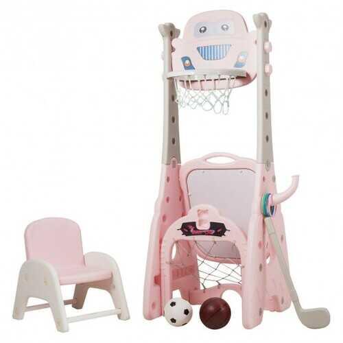 6-in-1 Adjustable Kids Basketball Hoop Set-Pink
