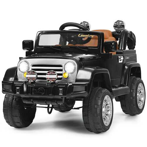 12 V Kids Ride on Truck with MP3 + LED Lights-Black - Color: Black