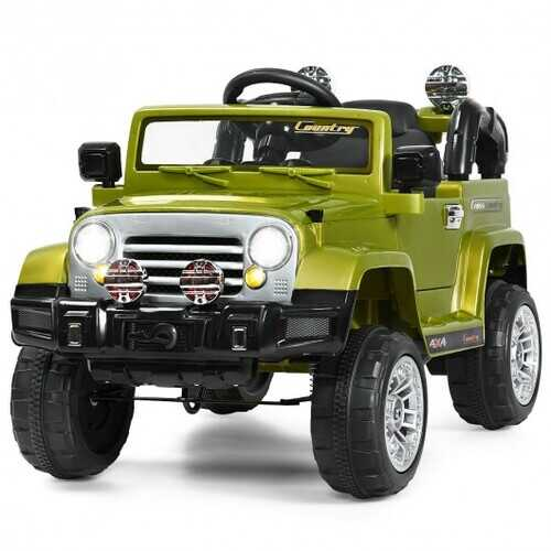 12 V Kids Ride on Truck with MP3 + LED Lights-Green - Color: Green