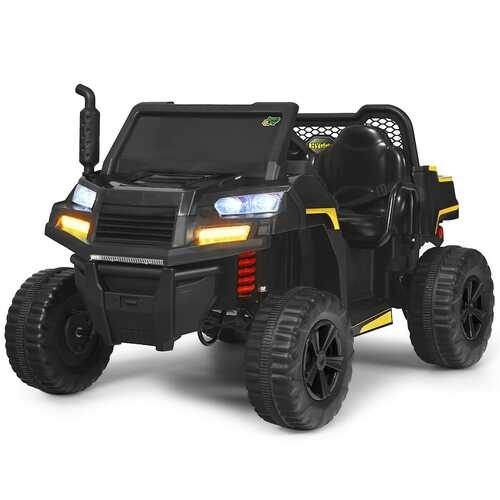 12V Battery Powered Kids Ride On Dumpbed Truck RC-Black