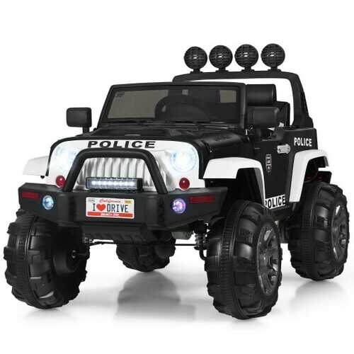 12V Kids Spring Suspension Ride On Truck-Black & White - Color: Black & White
