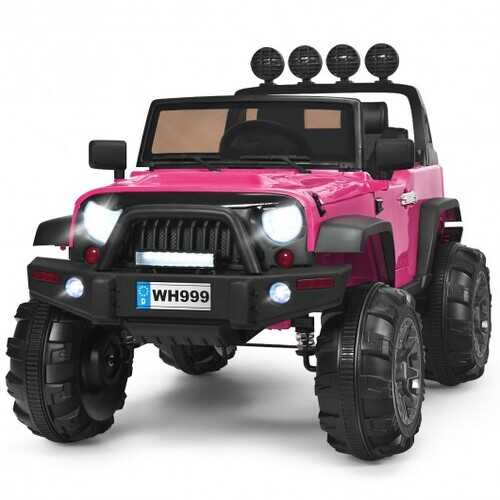 12V Kids Spring Suspension Ride On Truck-Pink - Color: Pink