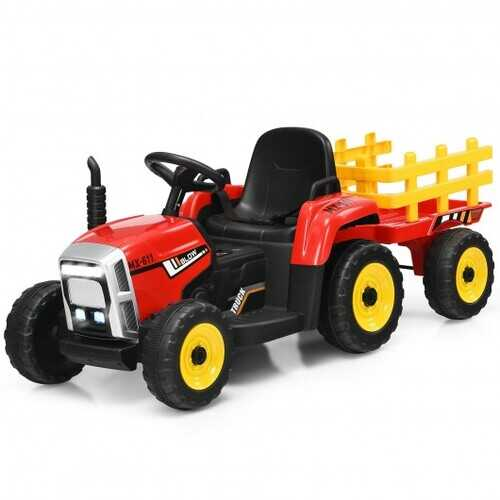 12V Ride on Tractor with 3-Gear-Shift Ground Loader for Kids 3+ Years Old-Red - Color: Red