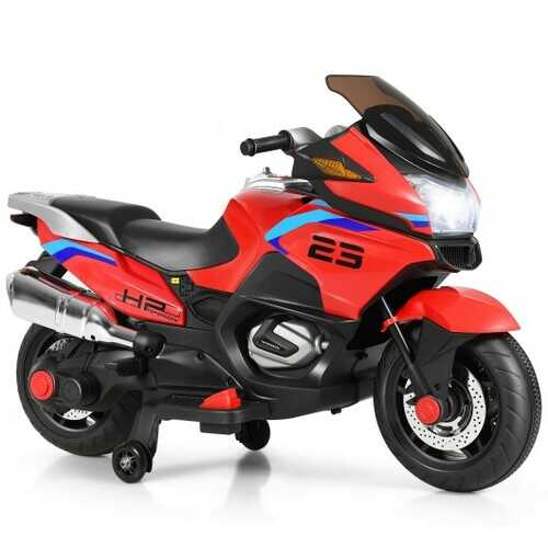 12V Kids Ride On Motorcycle Electric Motor Bike-Red - Color: Red