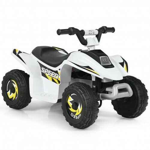 6V Kids Electric ATV 4 Wheels Ride-On Toy -White - Color: White