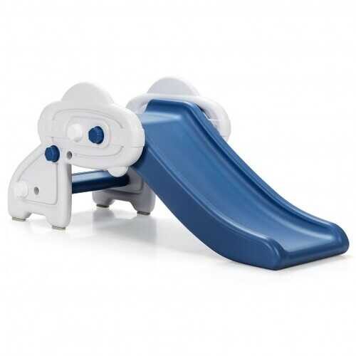 Freestanding Baby Mini Play Climber Slide Set with HDPE anf Anti-Slip Foot Pads-Blue - Color: Blue