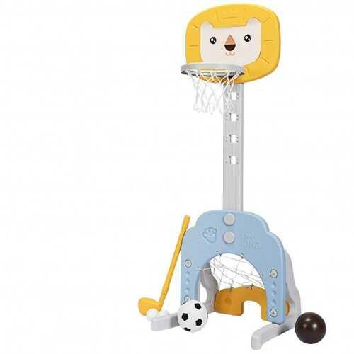 3-in-1 Adjustable Kids Basketball Hoop Sports Set-Yellow - Color: Yellow