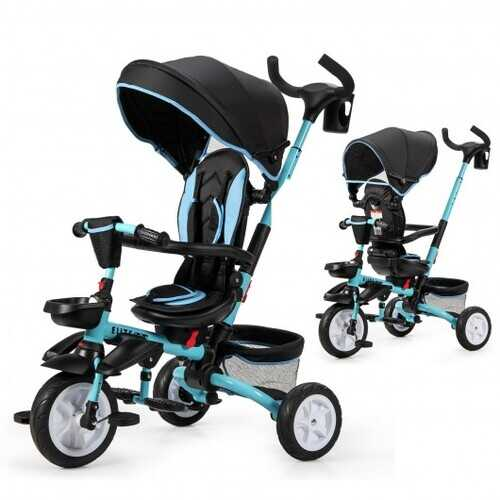 6-in-1 Detachable Kids Baby Stroller Tricycle with Canopy and Safety Harness-Blue - Color: Blue