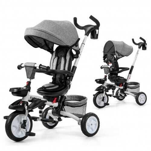 6-in-1 Detachable Kids Baby Stroller Tricycle with Canopy and Safety Harness-Gray - Color: Gray