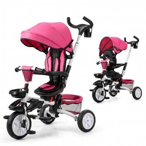 6-in-1 Detachable Kids Baby Stroller Tricycle with Canopy and Safety Harness-Pink - Color: Pink