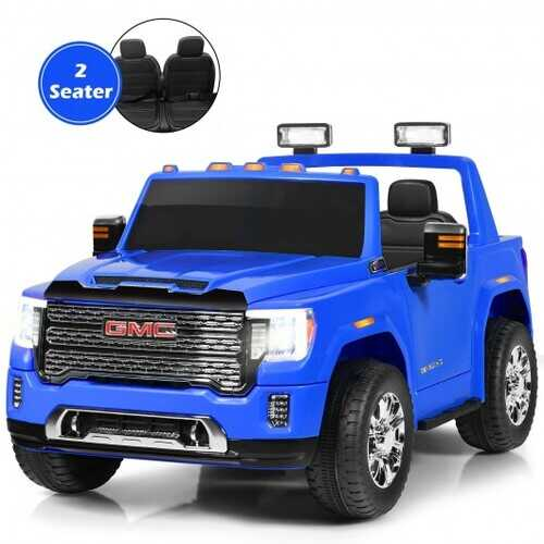 12V 2-Seater Licensed GMC Kids Ride On Truck RC Electric Car with Storage Box-Blue - Color: Blue