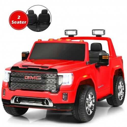 12V 2-Seater Licensed GMC Kids Ride On Truck RC Electric Car with Storage Box-Red - Color: Red