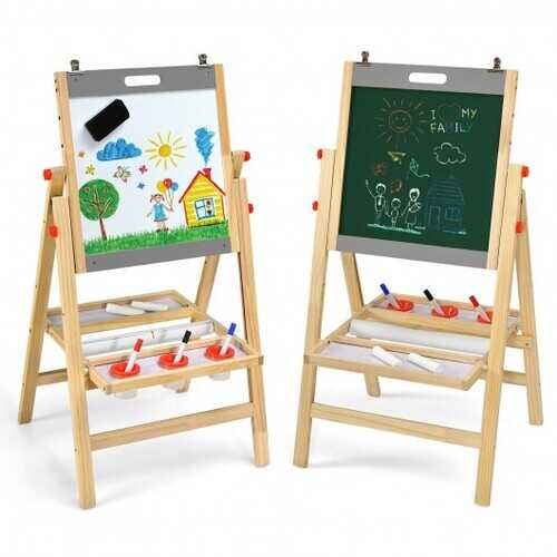 Kids Art Easel with Paper Roll Double Sided Chalkboard and Whiteboard-Gray - Color: Gray