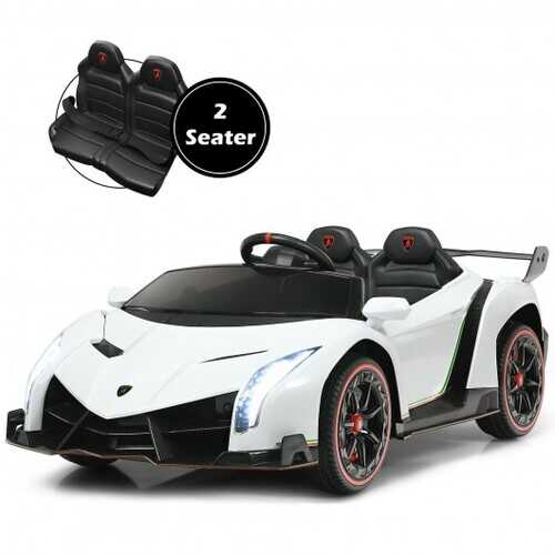 12V 2-Seater Licensed Lamborghini Kids Ride On Car with RC and Swing Function-White - Color: White