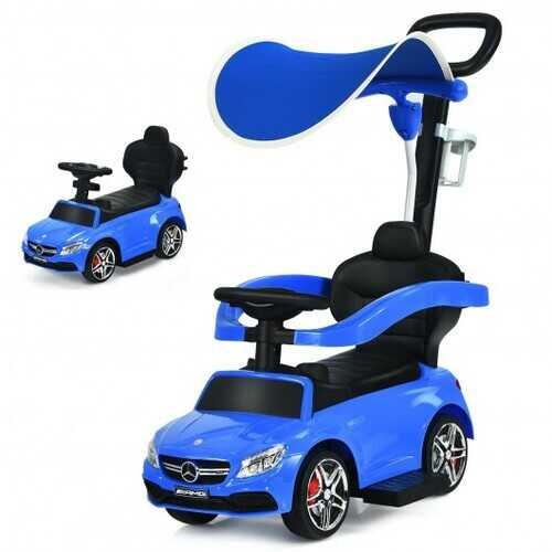 3-in-1 Mercedes Benz Ride-on Toddler Sliding Car-Blue - Color: Blue