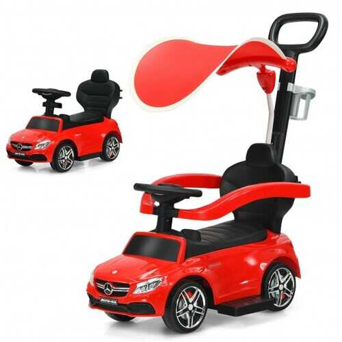3-in-1 Mercedes Benz Ride-on Toddler Sliding Car-Red - Color: Red