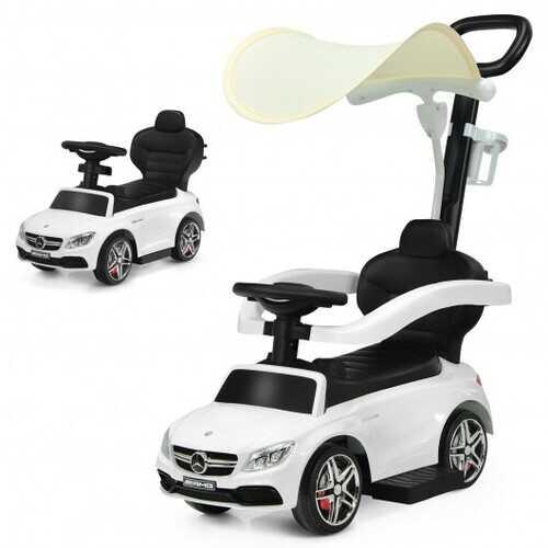 3-in-1 Mercedes Benz Ride-on Toddler Sliding Car-White - Color: White