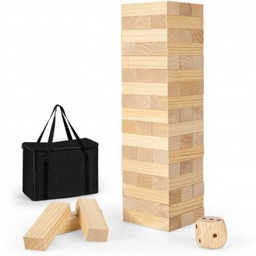 54 Pcs Giant Wooden Tumbling Timber Toy with Carrying Bag