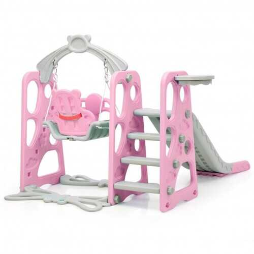 3 in 1 Toddler Climber and Swing Set Slide Playset-Pink - Color: Pink