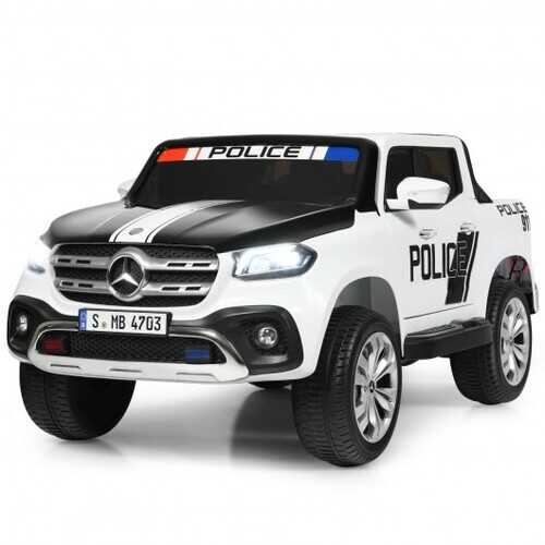 12V 2-Seater Kids Ride On Car Licensed Mercedes Benz X Class RC with Trunk-Black & White - Color: Black & White