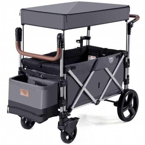 2 Passenger Push Pull Stroller with Adjustable Handle Bar