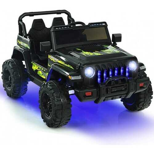12V Kids Ride-on Jeep Car with 2.4 G Remote Control-Black - Color: Black