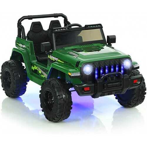 12V Kids Ride-on Jeep Car with 2.4 G Remote Control-Green - Color: Green