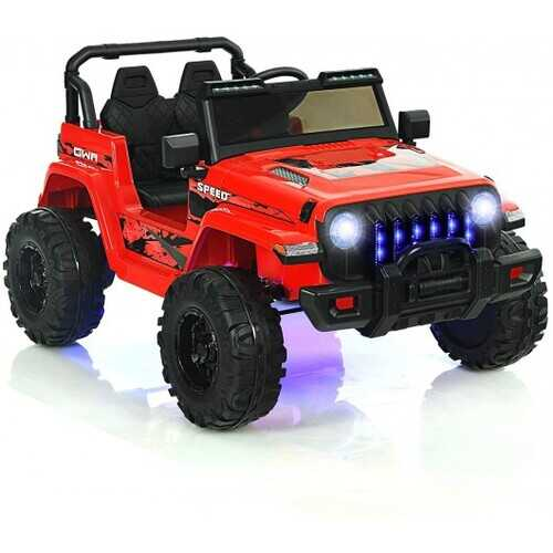 12V Kids Ride-on Jeep Car with 2.4 G Remote Control-Red - Color: Red