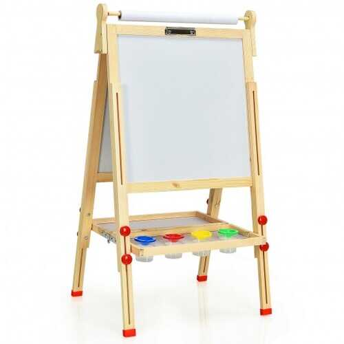 Kids Art Easel with Paper Roll Double-Sided Regulable Drawing Easel Plank - Color: Natural
