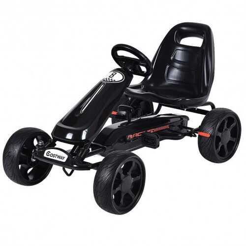 Outdoor Kids 4 Wheel Pedal Powered Riding Kart Car-Black - Color: Black