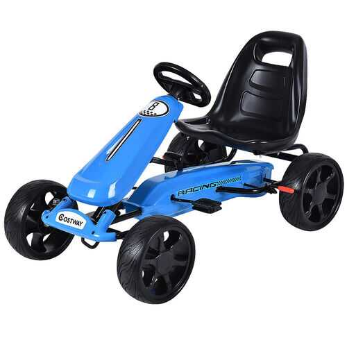 Outdoor Kids 4 Wheel Pedal Powered Riding Kart Car-Navy