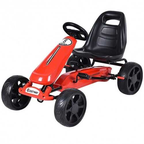 Outdoor Kids 4 Wheel Pedal Powered Riding Kart Car-Red - Color: Red