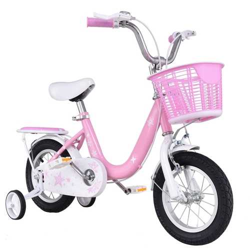 "12"" Kids Bike Bicycle with Training Wheels and Basket"