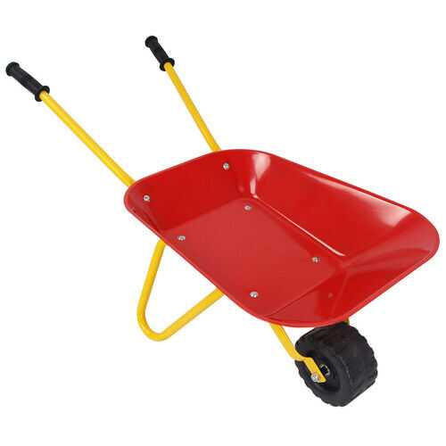 Outdoor Garden Backyard Play Toy Kids Metal Wheelbarrow-Red