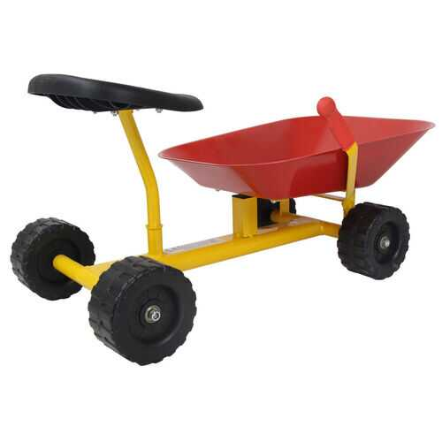 "8"" Heavy Duty Kids Ride-on Sand Dumper w/ 4 Wheels-Red"