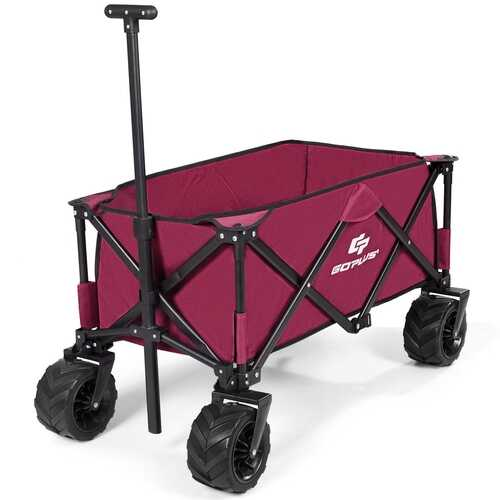 Collapsible Outdoor Utility Garden Trolley Folding Wagon-Wine