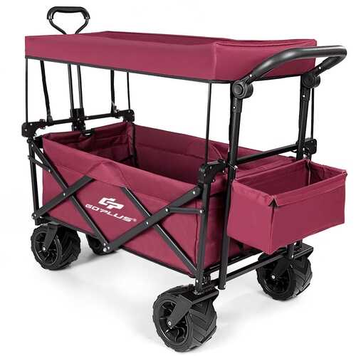 Collapsible Garden Folding Wagon Cart with Canopy-Wine - Color: Wine
