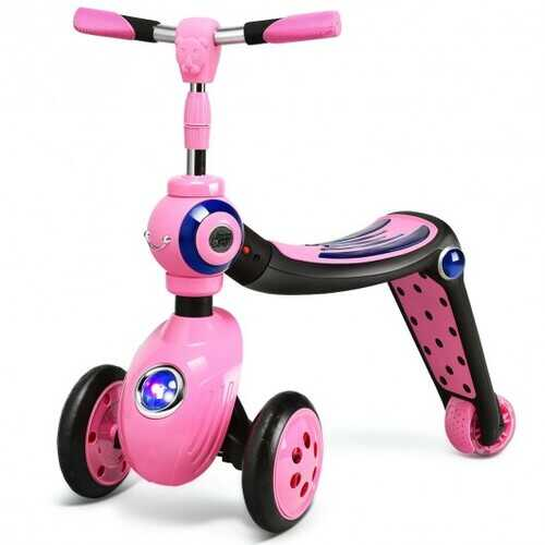 2-in-1 Kick Scooter Balance Trike With 3 Wheel -Pink