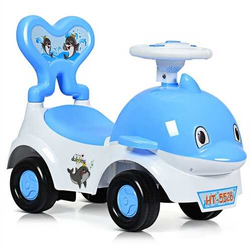3-in-1 Baby Walker Sliding Car Pushing Cart Toddler Ride-Blue