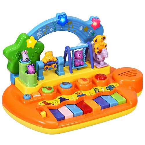 Kids 8 Keys Rainbow Piano Keyboard with Animal Playground LED Light