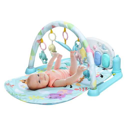 3 in 1 Fitness Music and Lights Baby Gym Play Mat-Blue
