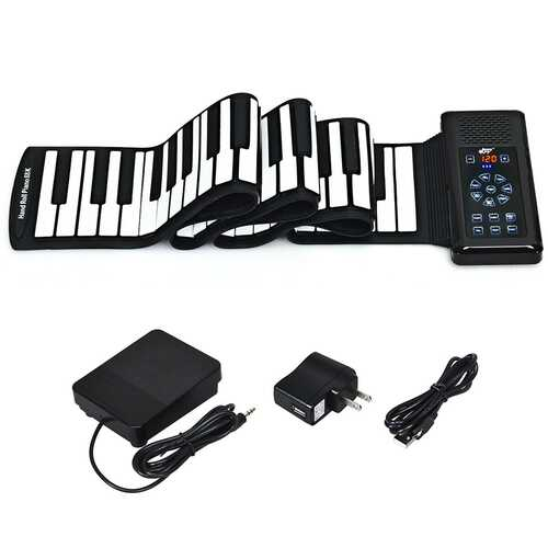 88 Key Electronic Roll Up Piano Silicone Keyboard-Black