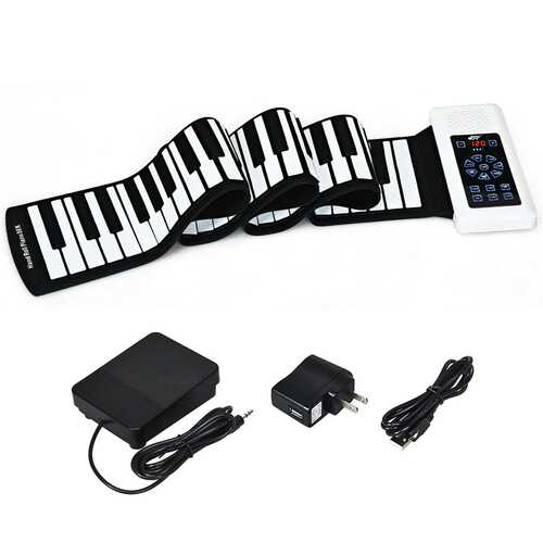 88 Key Electronic Roll Up Piano Silicone Keyboard-White