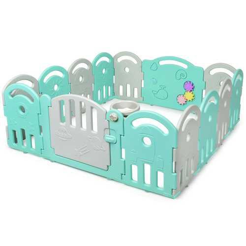 14-Panel Baby Playpen with Music Box & Basketball Hoop