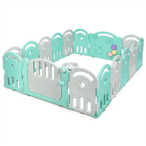 16-Panel Baby Playpen with Music Box & Basketball Hoop-Gray