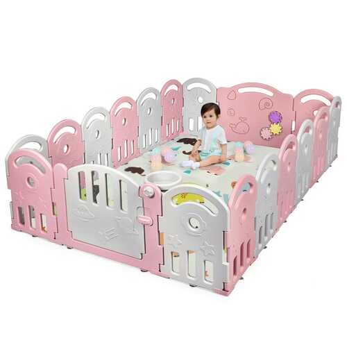 18-Panel Baby Playpen with Music Box & Basketball Hoop-Pink