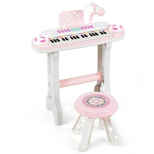 37-key Kids Electronic Piano Keyboard Playset-Pink