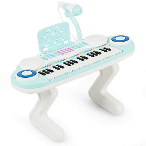 37-key Kids Toy Keyboard Piano with Microphone-Blue